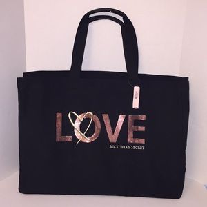 Victoria's Secret Black Love Logo Tote